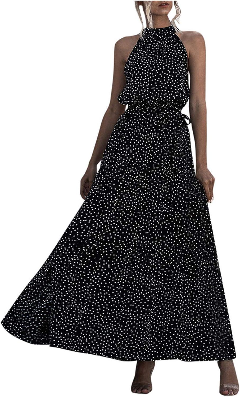 Dresses Women,Women Dresses Summer,Women Summer Dot&Floral Print Boho Long Dress Evening Party Beach Dress Sundress