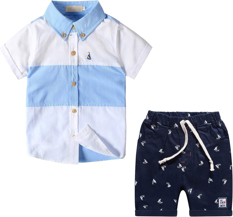 Nwada Jungen T Shirt und Kurze Hosen Bekleidungsset Kinder Kurzarm Hemd und Shorts Sommer Kleidung Gestreiftes Tops Set