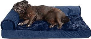 Furhaven Pet Dog Bed   Deluxe Cooling Gel Memory Foam Orthopedic Plush & Velvet L-Shaped Lounge Pet Bed for Dogs & Cats, D...