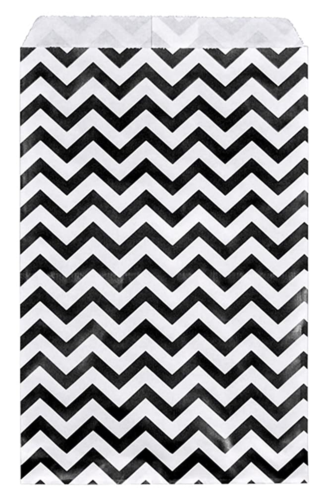 200 pcs Black Chevron Paper Gift Bags Shopping Sales Tote Bags 6