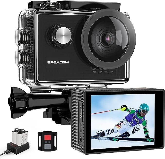 Apexcam 4K 60FPS Cámara Deportiva 20MP WiFi Cámara subacuática EIS Impermeable 40M Action Camera Remoto Lapso de Tiempo Micrófono Externo 2 baterías de 1350mAh