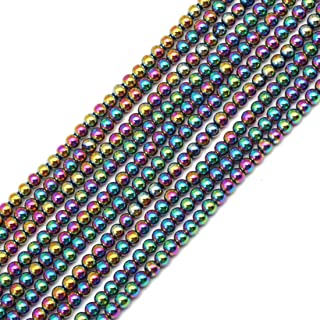 GEM-insid 3mm Hematite Round Multicolor Beads Strand 15 Inches for Jewelry Making Bracelets Necklace