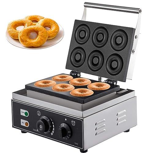 VBENLEM 110V Commercial Waffle Donut Machine 6 Holes Double-Sided Heating 50-300℃, Electric Doughnut Maker 1550W, Non-stick Donut MakerTeflon-Coating for Professional Kitchen (Depth:0.55 ,Dia:2.95 )