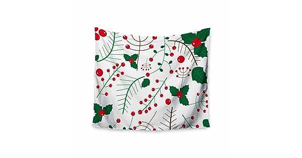 Kess InHouse bruxamagica Mistletoe White Red Floral Holiday Digital Illustration Wall Tapestry