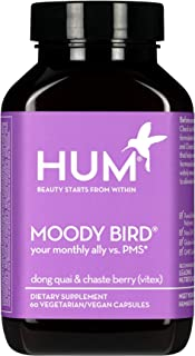 HUM Moody Bird - Women's Monthly Support Supplement with Dong Quai & Chasteberry (60 Vegan Capsules)