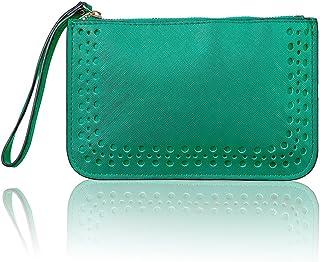 Women PU Leather Purse Solid Dot Coin Phone Pouch Zipper Clutch Wristlet Wallet