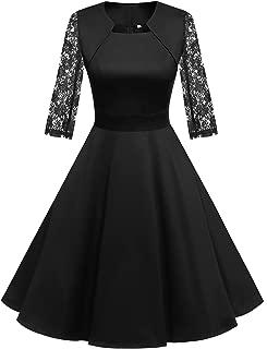 Homrain Women's 1950s Retro Vintage A-Line Cap Sleeve Cocktail Swing Party Dress