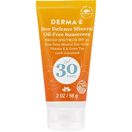 DERMA E Sun Defense Mineral Oil-Free Face Sunscreen, 2 oz