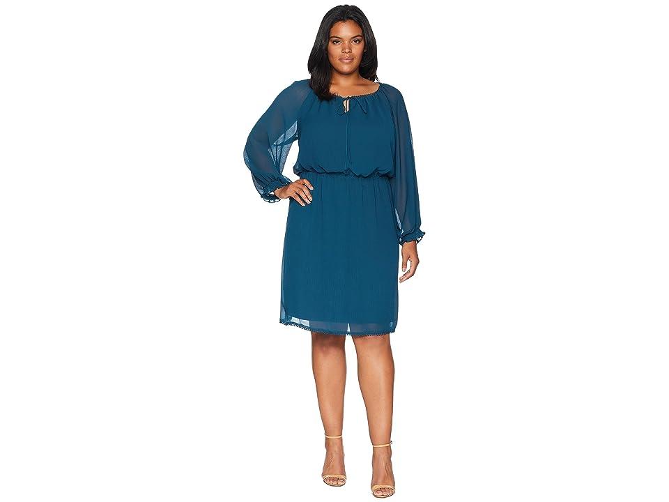 Adrianna Papell Plus Size Long Sleeve Blouson (Midnight Jungle) Women