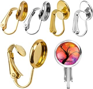 20Pcs Lever Back Hoop Earrings with Flat Round Tray Ear Wires Blank Cabochon Setting Earring Findings for Earring Designs Jewelry Making - 10mm Tray, Gold and Silver