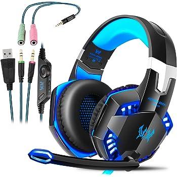 ROXTAK Cuffie Gaming PS4 con Microfono, Professionali Cuffie da Gaming, Bass Stereo, Cancellazione del Rumore e un Adattatore da 3,5 mm,per PS4/PC/Laptop/Mac/Xbox one X/Nintendo Switch