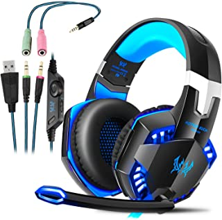 Cascos Gaming, Auriculares Gaming con Micrófono Headset Mac Estéreo Juego Gaming Jack 3,5mm LED Bajo Ruido Compatible con PC / Xbox One / Móvil / etc