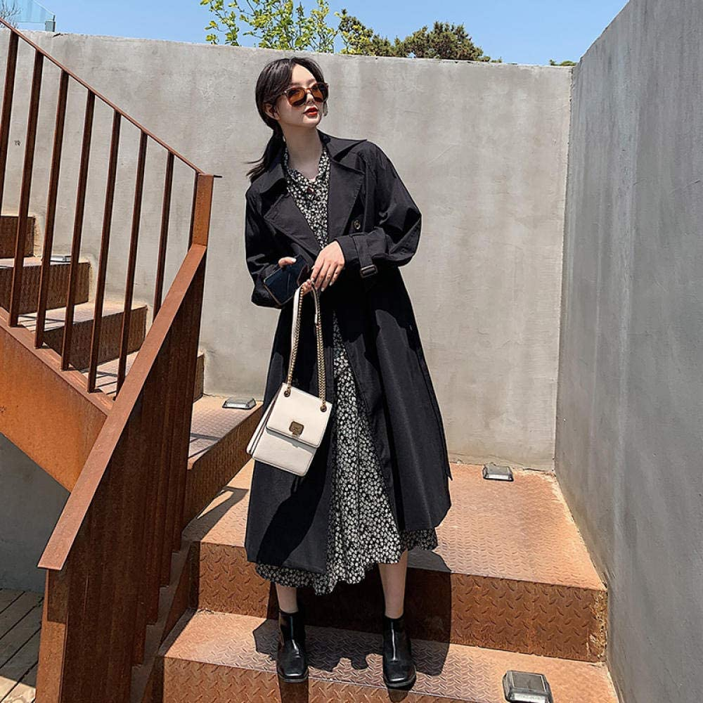 GZSZYA Windbreaker Women's Mid Length Windbreaker Loose All Matching Coats Women's Trench Coats (Color : Black, Size : XL)