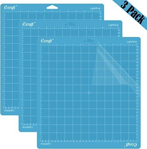 """Ecraft 12""""X12"""" Light Grip Cutting Mat for Cricut Explore One/Air/Air 2/Maker(3 Pack) Adhesive&Sticky Flexible Square ..."""