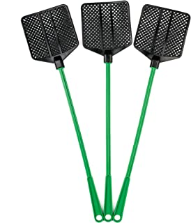 OFXDD Rubber Fly Swatter, Long Fly Swatter Pack, Fly Swatter Heavy Duty, Green Color (3 Pack)