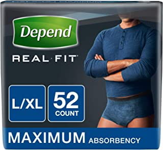Depend Real Fit Incontinence Underwear for Men, Maximum Absorbency, Blue, 52 Count, Large/X-Large