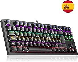 TECKNET Teclado Mecánico Gaming, Teclado Gaming con Interruptores Azul con 88 Teclas 100% Anti-Ghosting, 9 Modos de Retroiluminación LED Ideal para Jugadores - Layout Español (Nuevo Versión)