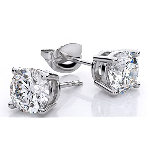 6097a4bde Genuine 1.00 Carat Natural Solitaire Round Cut Diamond 4 Prong Post Back  Studs Earring In 14K