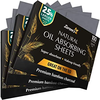 Natural Bamboo Charcoal Blotting Paper - 300 Super Large & Absorbent Sheets (120x75mm) - Make Up Friendly - Easy Take Out Design - Oily Skin Care (100 sheets/pack, 3 Pack)