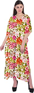 RADANYA Women's Beachwear Bikini Cover Up Kaftan V-Neck Floral Bathing Suit Caftan Dress