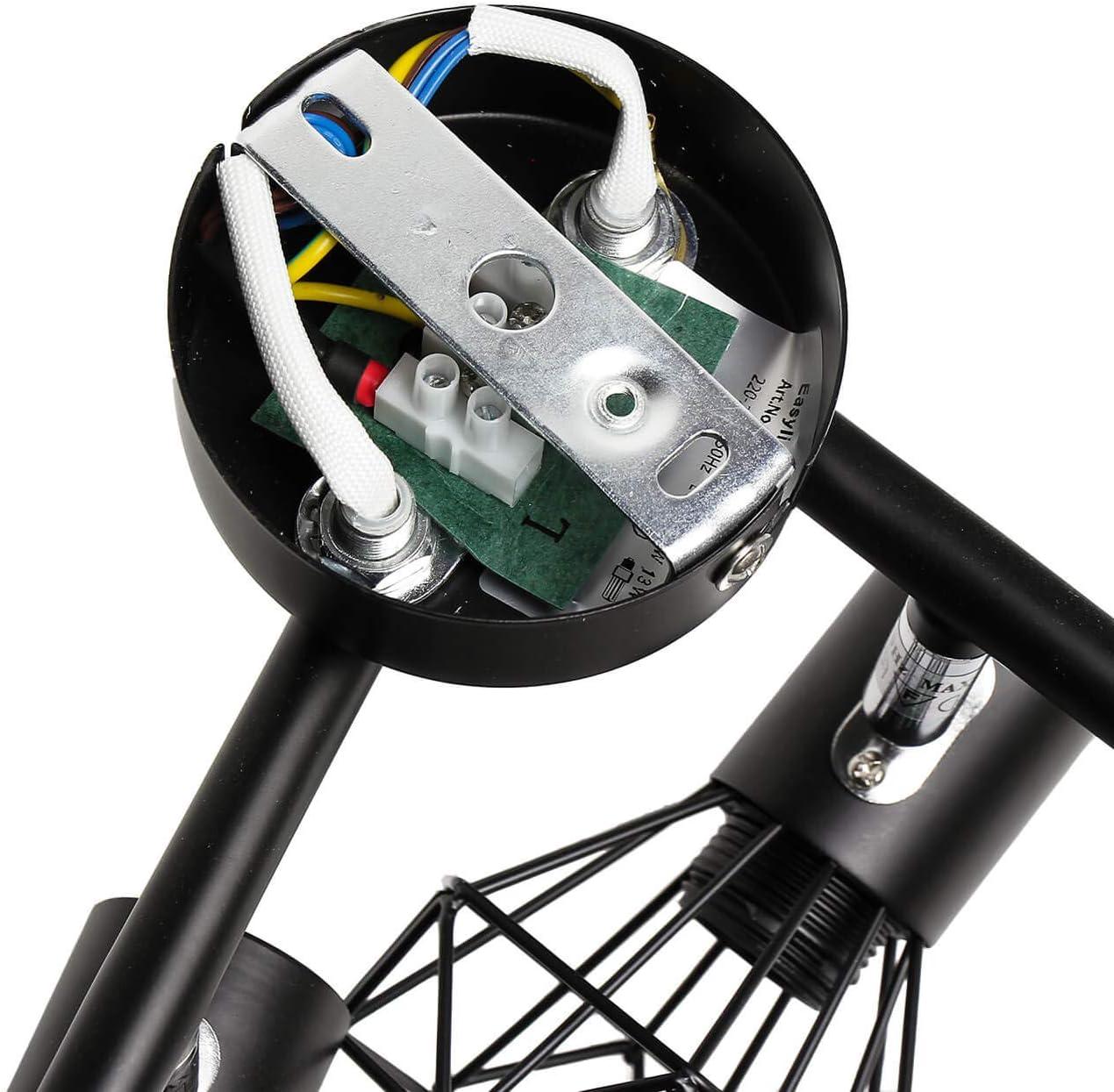 Spot noir r/étro avec abat-jour m/étallique flexible 4 ampoules E14 CONNY bureau Spot de plafond pour salon