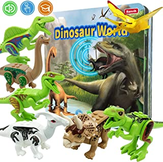 Banvih Dinosaur Toys for Boys and Girls 3 Years Old & Up Included 8 Realistic Durable Dinosaur Figures and Jurassic Adventure Roar Dinosaur Sound Book for Toddler Preschool Fun Learning