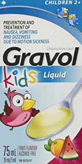 Children's Liquid GRAVOL for NAUSEA, VOMITING, DIZZINESS & MOTION SICKNESS Ages 2+ (75ml size)