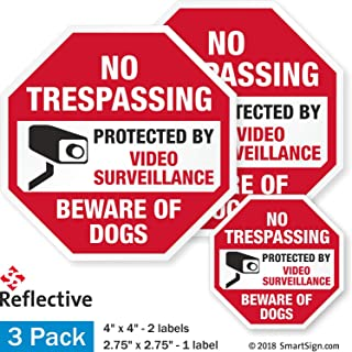 """SmartSign No Trespassing - Beware of Dogs, Video Surveillance Decal Set 