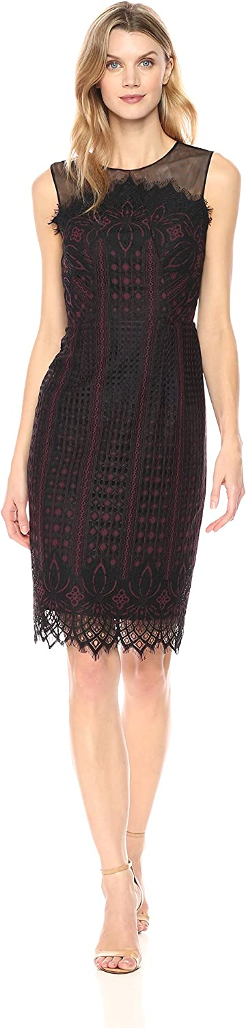 Maggy London Womens Etched Floral Lace Novelty Sheath Dress