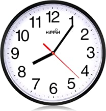 Black Wall Clock Silent Non Ticking Quality Quartz by Hippih, 10 Inch Round Easy to Read for Home Office School Clock