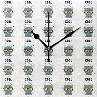 KamBins Modern Decorative Wall Clock Non Ticking Gray Cat Wearing Glasses Ornament 8 Inch Square Silent Wall Clock Battery Operated Excellent Accurate Sweep Home Office School Clock