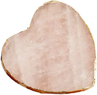 AMOYSTONE Heart Rose Quartz Gold Plated Natural Crystal Stone Coasters Cup Mat 1p 3-3.5 inches, Decoration for Home Wedding