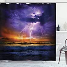 Ambesonne Nature Shower Curtain, Epic Thunder and The Storm on The Sea Wave Horizon Bad Weather Atmosphere, Cloth Fabric Bathroom Decor Set with Hooks, 75 Long, Purple Orange