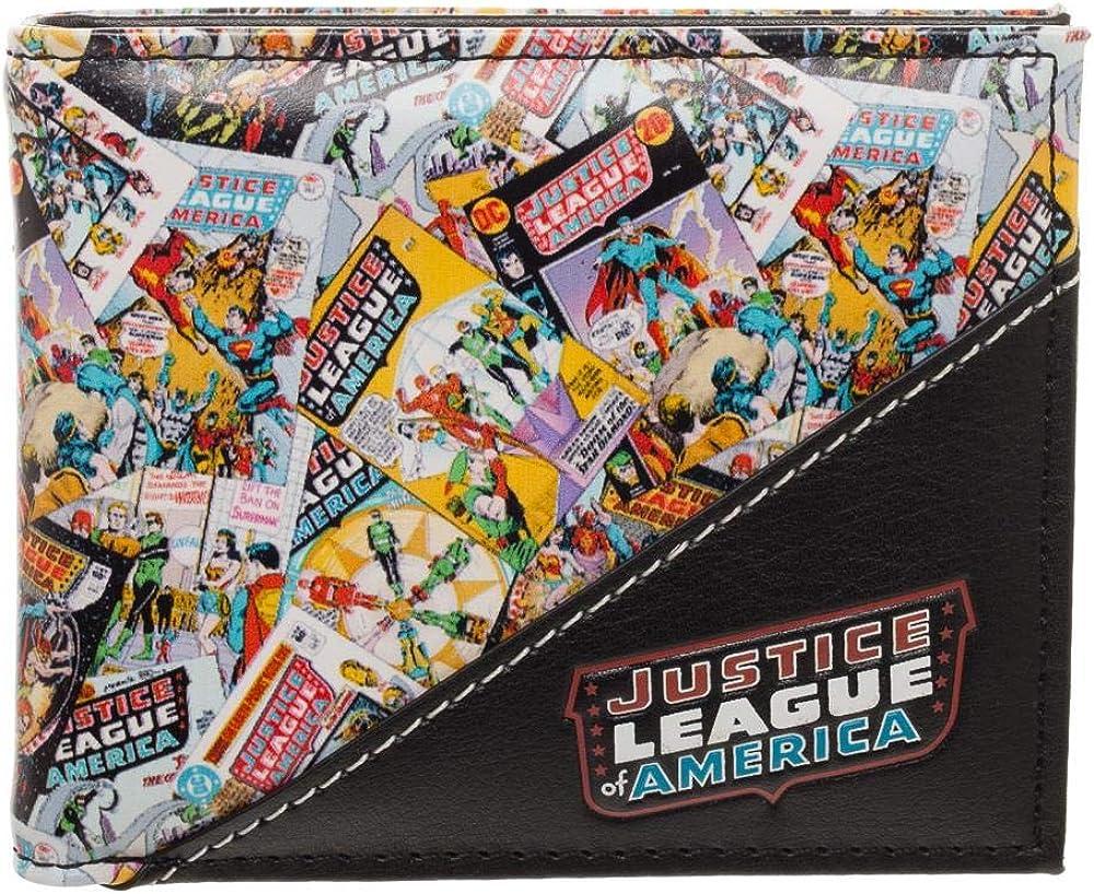 Bioworld DC Comics Justice League of America Bi-Fold Faux Leather Wallet, Black, One Size