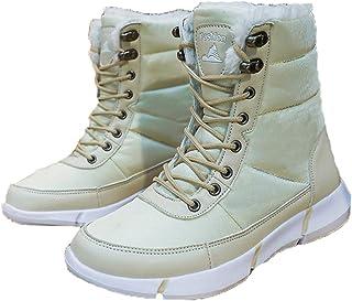 LangfengEU Couple d'hiver Bottes de Neige en Plein air décontracté à Lacets Chaussures Montantes Portables pour Hommes et ...