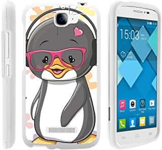 Compatible with Alcatel One Touch Fierce 2 Case | POP Icon Case [Slim Duo] Hard Shell Snap On Case Fitted Protector Matte on White Sea Ocean by TurtleArmor - Cute Penguin