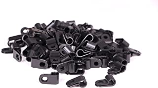 Shapenty Black Nylon Screw Mounting R Type Cable Clamp Fastener Plastic Wires Cord Clip Fixer Holder Organizer for 1/4 Inch /6.35mm Diameter Wire Rope Tube Management, 100Pieces/Box