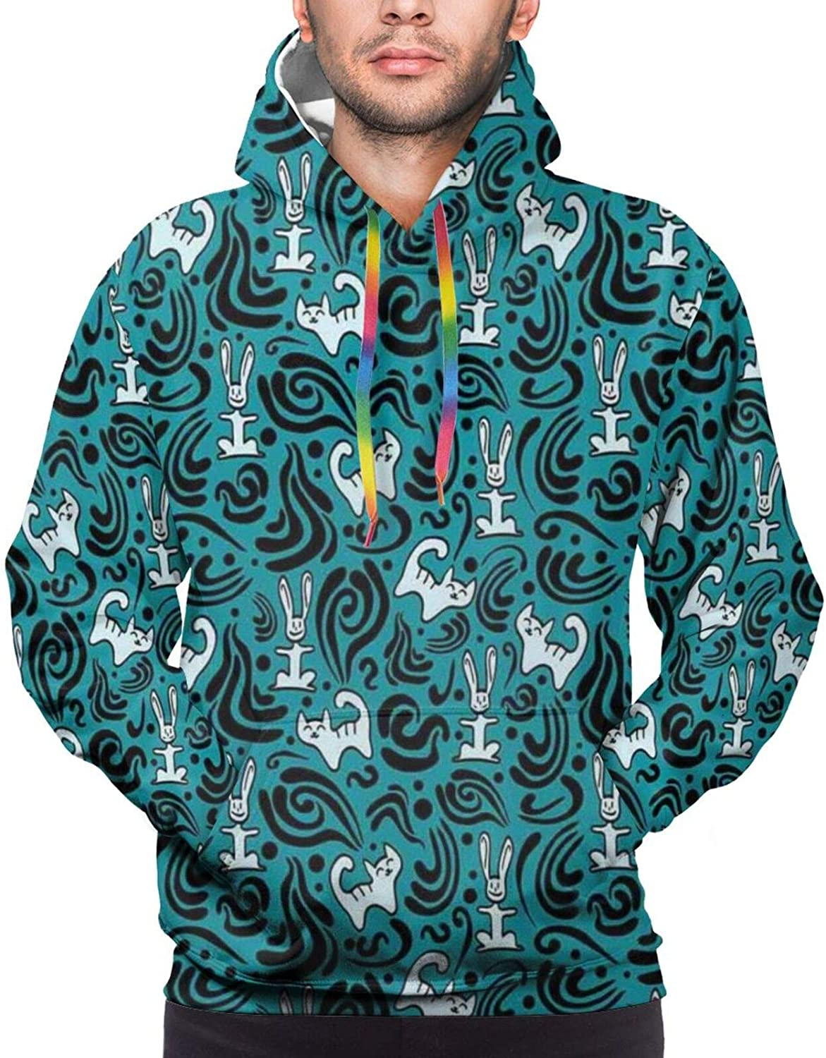 Men's Hoodies Sweatshirts,Abstract Cat and Bunnies with Black Swirls Curves and Dots Pattern,Small