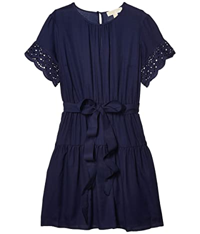 MICHAEL Michael Kors Cotton Eyelet Short Sleeve Dress (True Navy) Women