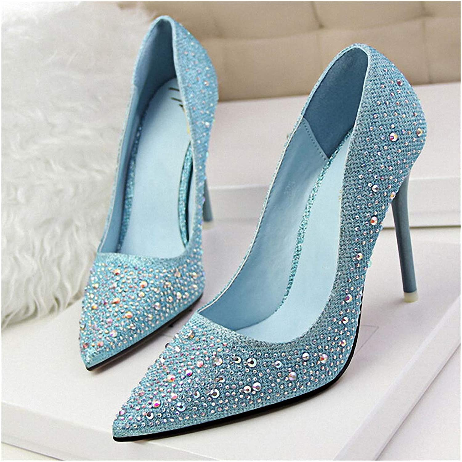 Tebapi Womens High-Heeled Pumps shoes Fashion New Women Pumps Classic Sequined Shallow Women High Heels Sexy Pointed 10cm Wedding shoes Party Women shoes