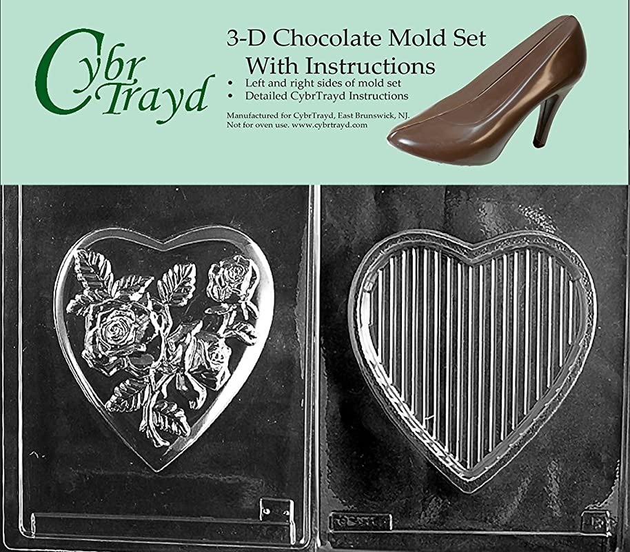 Cybrtrayd V067BC Chocolate Candy Mold Includes 3D Chocolate Molds Instructions And 2 Mold Kit Large Pour Box Rose Top