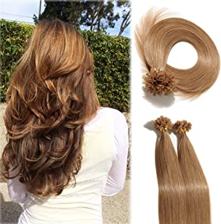 Pre Bonded Italian Keratin Nail Tips 100 Strands 20 Inch U Tip Remy Human Hair Extension Superior Salon Quality—Dark Brown #12, 20''/50g