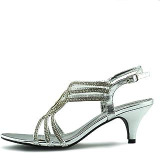 Kick Footwear Womens Heels Hochzeit Party Riemchen Schwarz Silber Schuhe