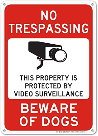 "Beware of Dog Sign, No Trespassing Video Surveillance Sign, Outdoor Rust-Free Metal, 10"" X 14"" - by My Sign Center, A82-391AL"
