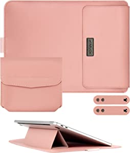 Arvok 13.3 Inch Leather Laptop Sleeve Ultra-Slim Bag with Adjustable Laptop Stand, Lightweight Case/Water-Resistant PU Computer Tablet Carrying Bag/Pouch Skin Cover for Acer/Asus/Dell/Lenovo(Pink)