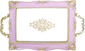 Vanity Purple Serving Mirror Ornate Tray with Gold Corner, Makeup and Jewelry Organizer, Gold Edge Storage Tray for Dresser, Bathroom, Bedroom Kitchen Table Top Home Decorative Ornament