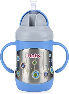 Nuby 2 Handle Stainless Steel Cup Click It with Straw, Blue