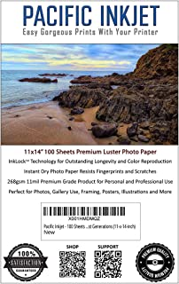 (11-x-14-inch) 100 Sheets Professional Luster Inkjet Photo Paper 11mil 268gsm For Beautiful Prints That Last Generations