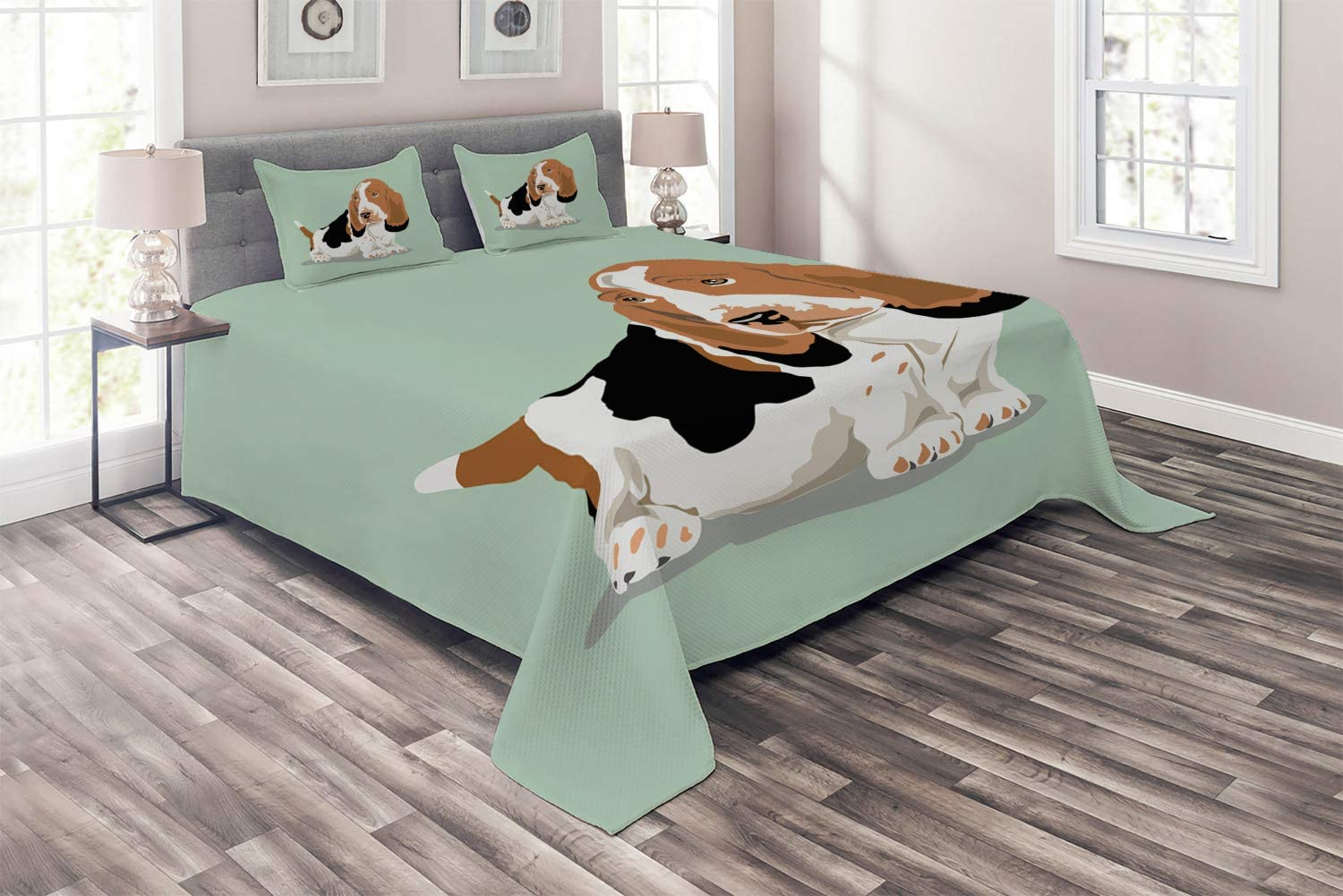 Ambesonne Dog Lover Coverlet Popular products Sacramento Mall Long Eared S on Basset Breed Hound