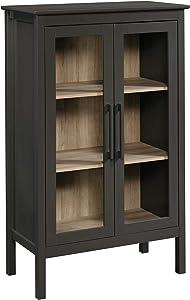 "Sauder Anda Norr Display Cabinet, L: 31.5"" x W: 15.75"" x H: 50.0"", Slate Gray Finish"